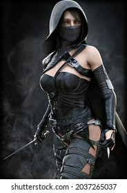 Mysterious hooded silent rogue assassin female piercing through the smoke toward her target with a dagger in hand . Fantasy 3d rendering