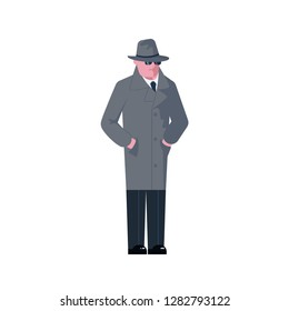 Mysterious man wearing a gray hat and coat with a raised collar isolated on white background. Rastered copy