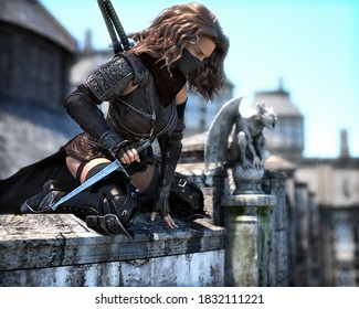 Mysterious masked rogue assassin female in position high on the rooftops looking down on her marked target . Fantasy 3d rendering