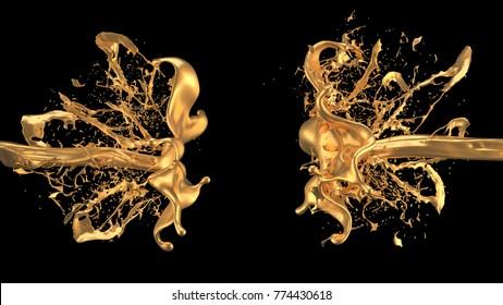 Mysterious, mystical, luxury splash of gold. 3d illustration, 3d rendering.
