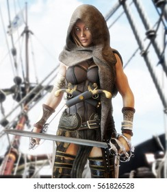 Mysterious pirate female standing on the deck of a ship with duel cutlasses in hand. 3d rendering