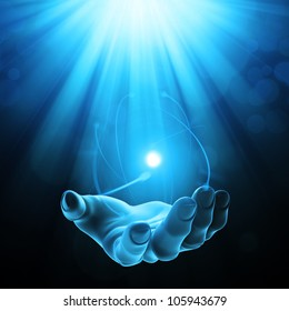 Mysterious power - open palm with a glowing light