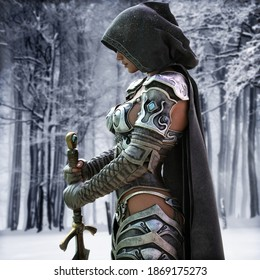 Mysterious Ranger warrior female wearing a hooded cape and light armor stands poised and ready with a beautiful snow terrain background . Fantasy 3d rendering