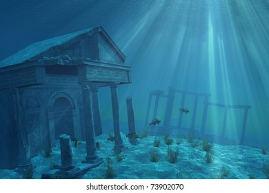 Mysterious ruins of a former civilization lie forgotten undersea - 3D render with digital painting.