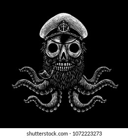Mysterious sea pirate and sailor signs and symbols. Mystic skulls, tentacles, knives, alcohol, mermaids. Black and white illustration print t-shirt. The label for the beer