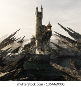 Mysterious wizard's tower sitting high above a ocean island coastal lagoon surrounded by razor edged rock outcrops.  Fantasy concept. 3d rendering illustration. 3d rendering