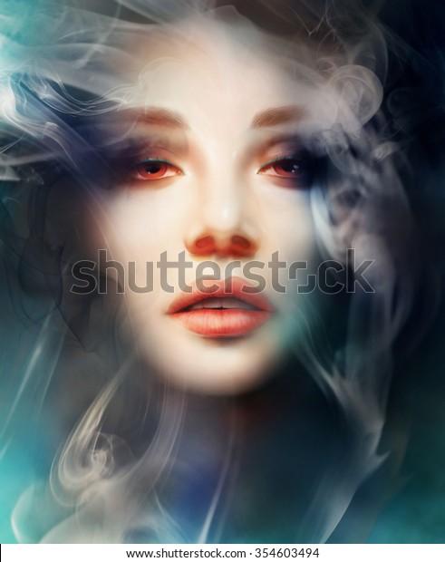 mysterious woman, smoke background. digital art