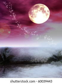mysterious world: full moon in a pink and grey sky