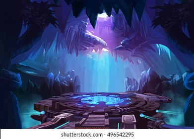 Mystery Cave with Sci-Fi Building. Video Game's Digital CG Artwork, Concept Illustration, Realistic Cartoon Style Background