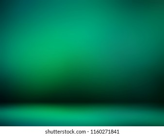 Mystery dark green empty room 3d background. Emerald ombre pattern defocused illustration. Secret glow on wall and floor blurred texture. Magic abstract template. St. Patricks day decoration backdrop.