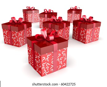 Mystery gift and surprise concept gift box with question mark pattern with clipping path