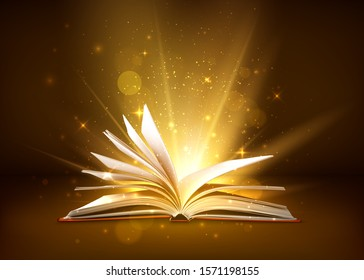 Mystery open book with shining pages. Fantasy book with magic light sparkles and stars. illustration