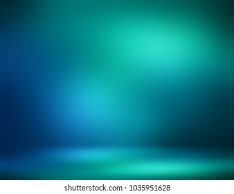 Mystery room 3d illustration interior. Dark blue green gleam empty background. Wall and floor flare abstract texture. Luxury glare blurred illustration. Magical lights defocused template.