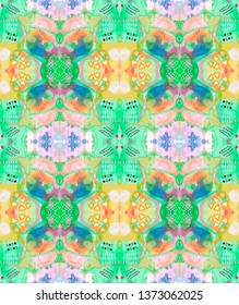 'Mystery' - seamless repeat pattern. raster illustration. Abstract watercolorwith digital effects, green, blue, yellow, orange, pink, womenswear, menswear, activewear,  2000x2370 pixels, 300dpi