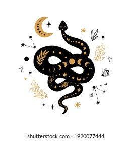 Mystic animal, moon floral serpent, celestial snake, mystical moon, stars isolated. Black gold colors. Floral snake Rustic serpent, flowers, leaves, moon. Halloween boho element. Cute illustration.
