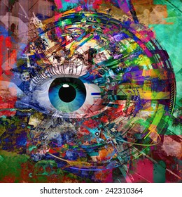 Mystic eye symbol on abstract background