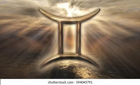 Mystic golden zodiac horoscope Gemini symbol. 3D rendering
