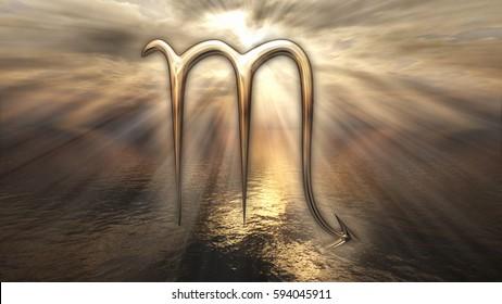 Mystic golden zodiac horoscope Scorpio symbol. 3D rendering