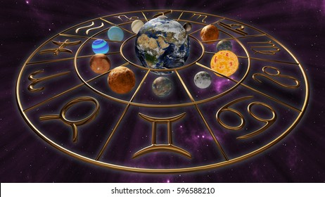 Mystic golden zodiac horoscope symbol with twelve planets in cosmic scene. 3D rendering