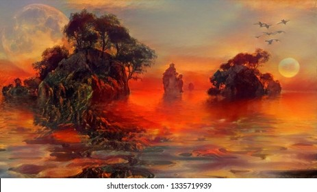 Mystic islands. Surreal red sunset and giant moon. 3D rendering