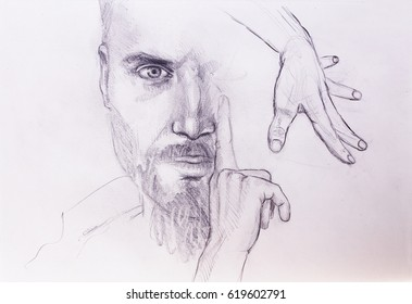 Mystic man and hands. pencil drawing on old paper.