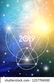Mystic Sacred Geometry Inspired New Year 2019 Greeting Card or Calendar Cover on Cosmic Background with Interlocking Circles, Triangles and Particles.