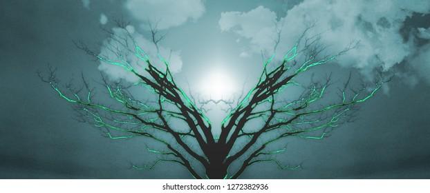 Mystic Tree of Life. Sunset or Sunrise. 3D rendering