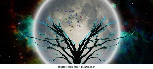Mystic tree in moonlight. Butterflies symbolizes souls. 3D rendering