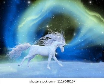 Mystic Unicorn 3D illustration - A white magical unicorn stallion gallops across a universe of an aurora nebula with an array of stars.