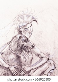 Mystic woman warior and dog. pencil drawing on old paper.