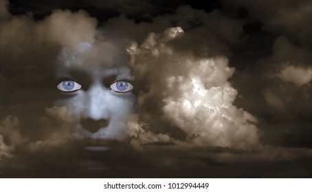 Mystic woman's face in clouds. 3D rendering