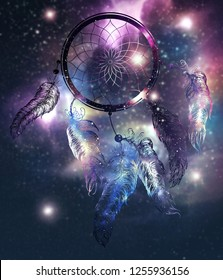 Mystical Dreamcatcher with starry space texture design illustration.