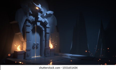 Mystical dungeon with a gate in the rock and burning torches. Night scene of a monochrome game location. Above the stone gates is a dragon sculpture with glowing orange eyes. 3d illustration. Treasury