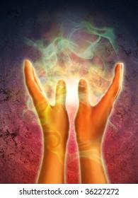 Mystical energy generating from open hands. Digital illustration.