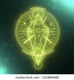 Mystical geometry symbol. Linear alchemy, occult, philosophical sign. Low poly raven. For music album cover, poster, sacramental design. Astrology and religion concept. 3D rendering
