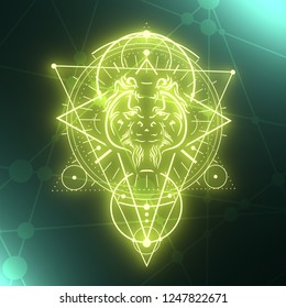 Mystical geometry symbol. Linear alchemy, occult, philosophical sign. Decorative orangutan head. For music album cover, poster, sacramental design. Astrology and religion concept. 3D rendering