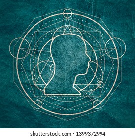 Mystical geometry symbol. Linear alchemy, occult, philosophical sign. For music album cover, poster, sacramental design. Astrology and religion concept. Outline silhouette of human head