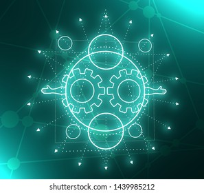 Mystical geometry symbol. Linear alchemy, occult, philosophical sign. For music album cover, poster, sacramental design. Astrology and religion concept. Neon bulb illumination. 3D rendering