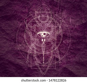 Mystical geometry symbol. Linear alchemy, occult, philosophical sign. For music album cover, poster, sacramental design. Astrology and religion concept. Beetle icon