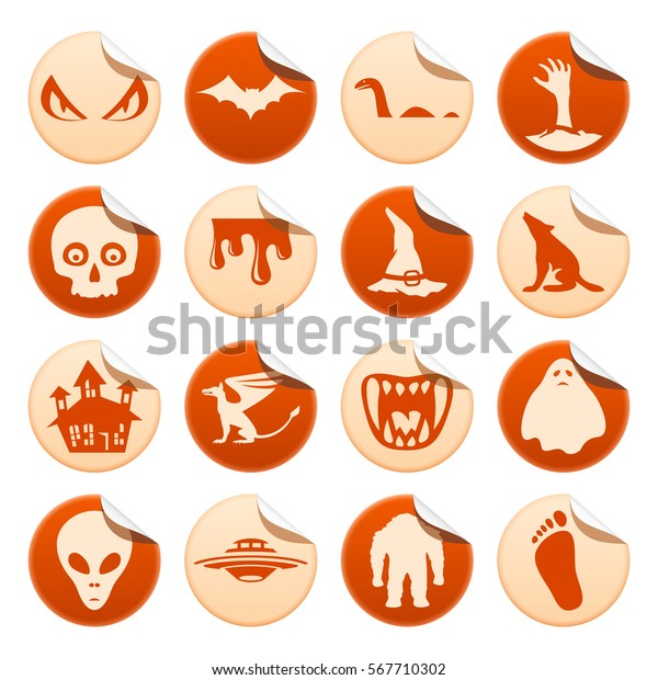 Mystical Horror Stickers Stock Illustration 567710302
