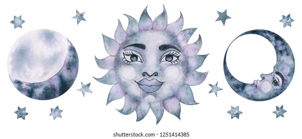 Mystical moon and sun with face hand drawing by watercolor. Abstract painting. Isolated on white.