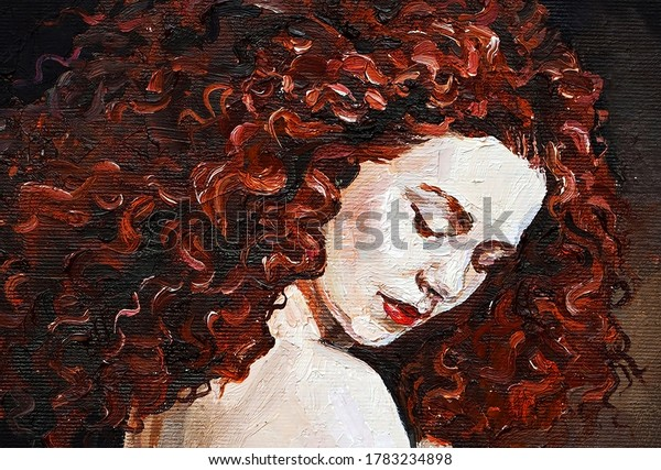 Mystical  nymph with fiery red curly hair that falls on snow-white shoulders. Oil painting on canvas.