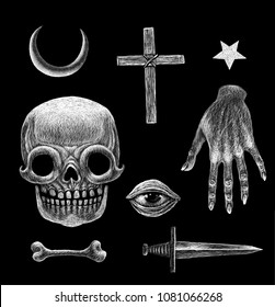 Mystical occult symbols. Medieval style illustration engraving technic.