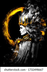 A mystical Queen with black eyes, a Golden crown on her head, long hair floating in the wind, her head encircled by a Golden luminous ring . 2D illustration