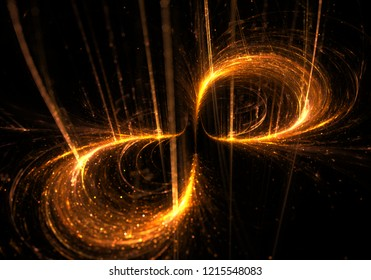 Mystical Sign of Infinity  - Visionary Gold Glow Perpetuity Symbol- Mathematical Scientific Emblem