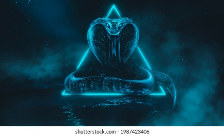 Mystical snake, red neon light. Dark fantastic landscape, night view, light reflection in the water. Year of the snake. A terrible big snake goes around the island in the dark. 3d illustration
