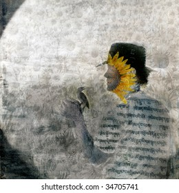 Mystical sunflower man and bird in the garden. Photo based illustration.