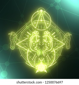 Mystical symbol. Linear alchemy, occult, philosophical sign. Low poly raven, turtle and orangutan head. For music album cover, poster, sacramental design. Astrology and religion concept. 3D rendering