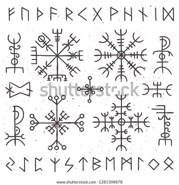 Mystical Viking Runes Ancient Pagan Talisman Stock Illustration