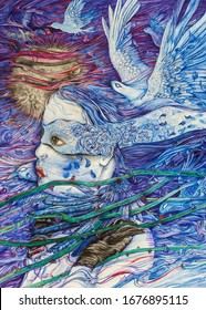 Mystical woman with a blindfold, trying to foresee the future, with blue birds, while entangled with rose stalks at a moon night